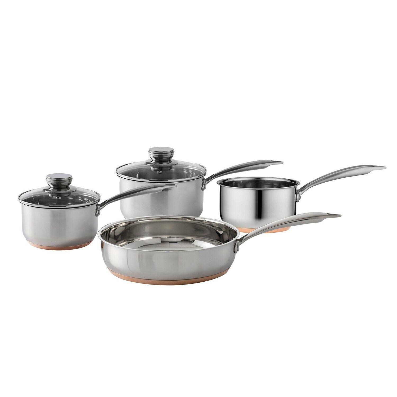 4pcs Viners Stainless Steel Saucepans Frypan Frying Pan Kitchen Cooking Pans Set
