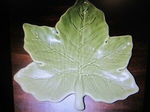 11-lot-NOS-Pottery-Barn-Harvest-Leaf-Decorative-Plate-Fall-Maple-Leaf-10-034-Green