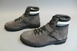 Bally-X-Swiss-Men-039-s-Champions-Suede-Leather-Mountain-Boots-GG8-Dark-Grey-Size-9D