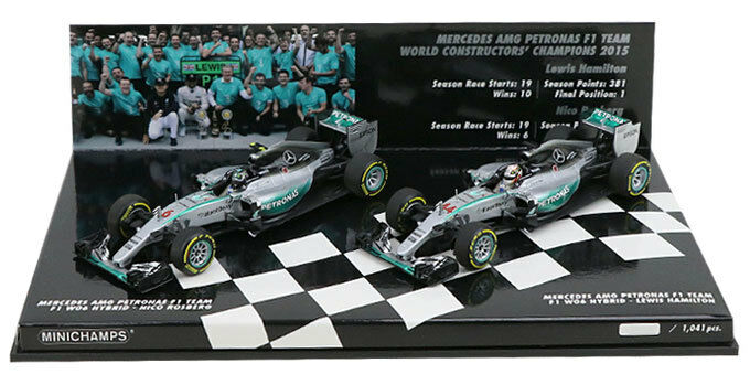 Minichamps Mercedes constructores Champion 2015 Hamilton Rosberg 2 Car Set 1 43