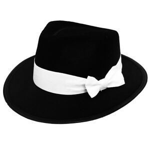 14daa6ebaea3e9 DELUXE BLACK GANGSTER HAT WITH WHITE BAND 1920'S FANCY DRESS COSTUME ...