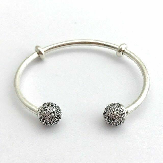 PANDORA Moments Silver Open Bangle Bracelet Pave Caps Clear CZ 596438cz-1  16cm
