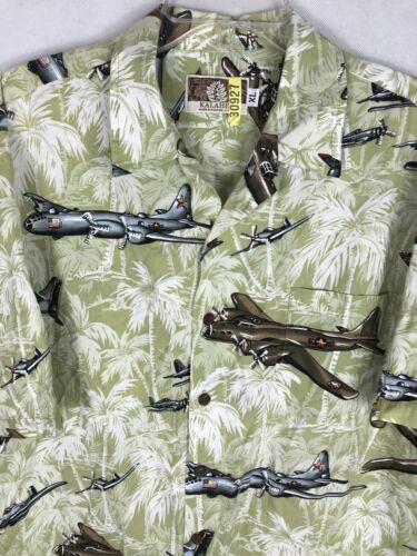 Kalaheo Men's Sz XL Planes Palm Trees Green Hawaii
