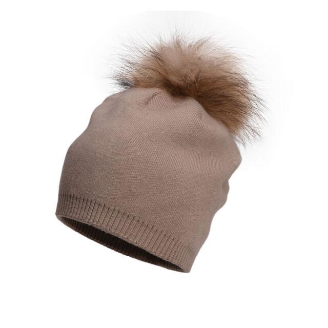 Khaki Womens Cashmere Wool Knitted Real Fur Pom Pom Ball Beanie Crochet Hat  A392 705c813dab8