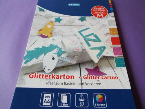 Glitterkarton stylex Bastelkarton Glitter Cardboard Glitzerkarton
