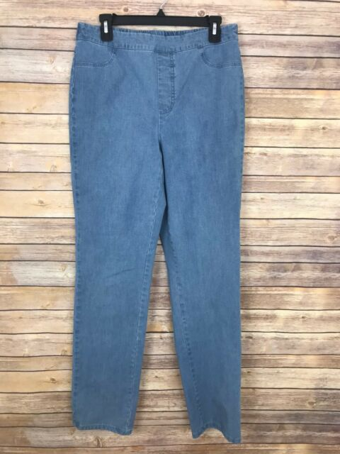 Isaac Mizrahi Live 12 Tall 24/7 Denim Straight Leg Jeans Pull On Stretch Elastic