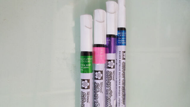 3 pcs x Sakura Silver Outliner Metallic Marker Pen 1.0mm - 4 colors avaliable