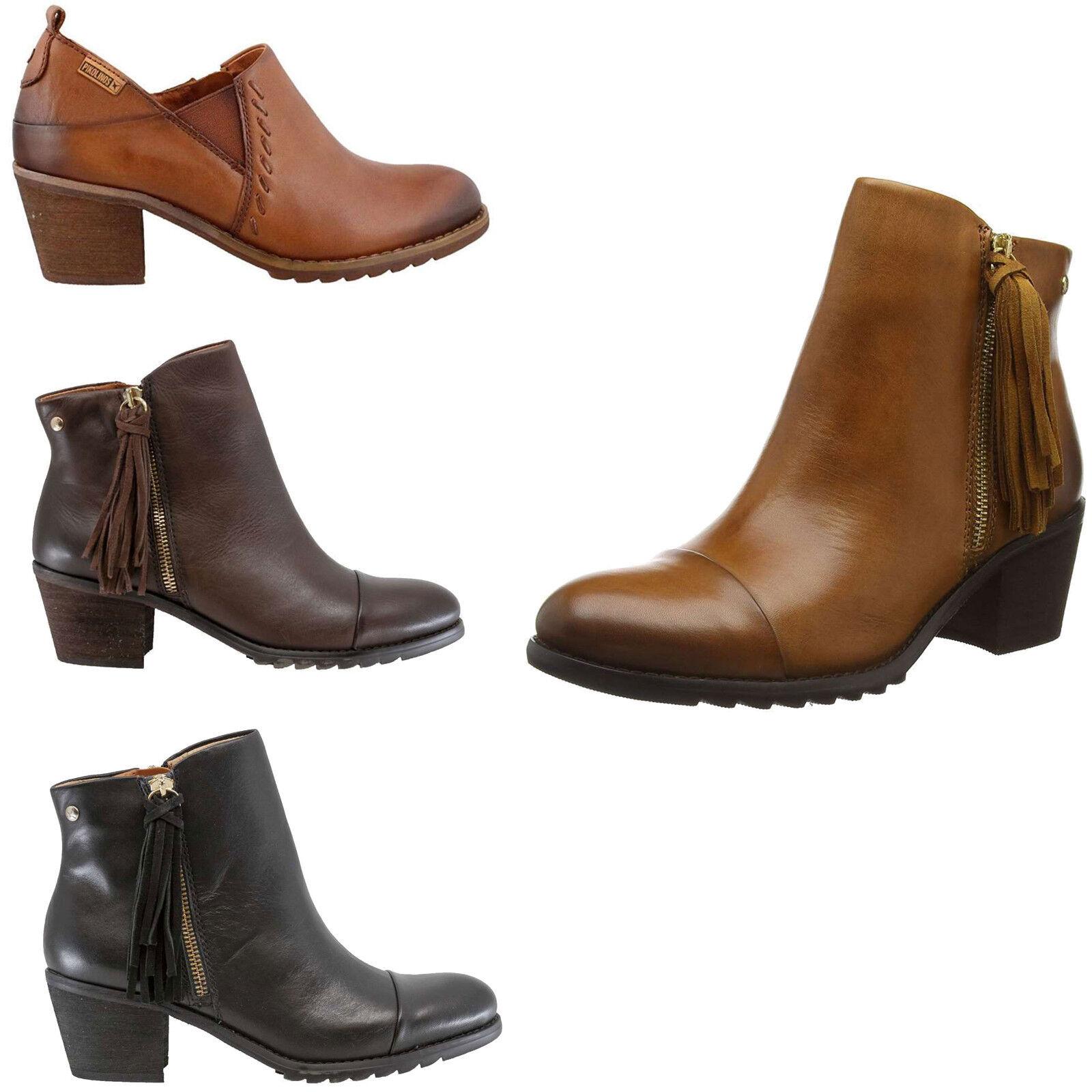 Pikolinos Andorra Ankle Stiefel Leather Slip On Zip 2  Stacked Heel damen Stiefelies