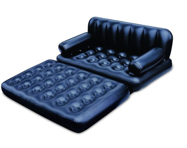 Bestway Inflatable 5in1 Sofa Bed Mattress Lounge Couch Chair #75054 Black