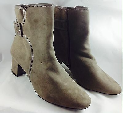 Large Size Ladies EVANS Taupe Faux Suede Ankle Boots Size UK 11 PLUS SIZE