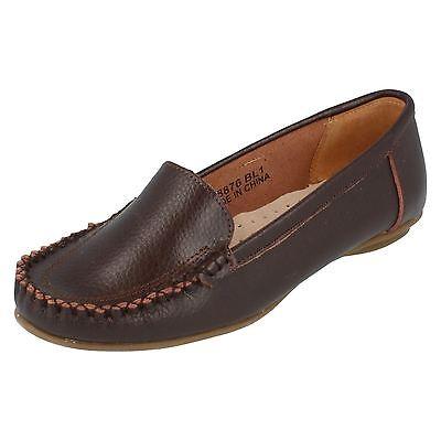 F8876-Cuero señoras Mancha en Zapatos Estilo Mocasín Marrón-Gran Precio!