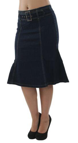 Women/'s Plus Size Trumpet Mermaid Front Belted Flare Short Denim Skirt