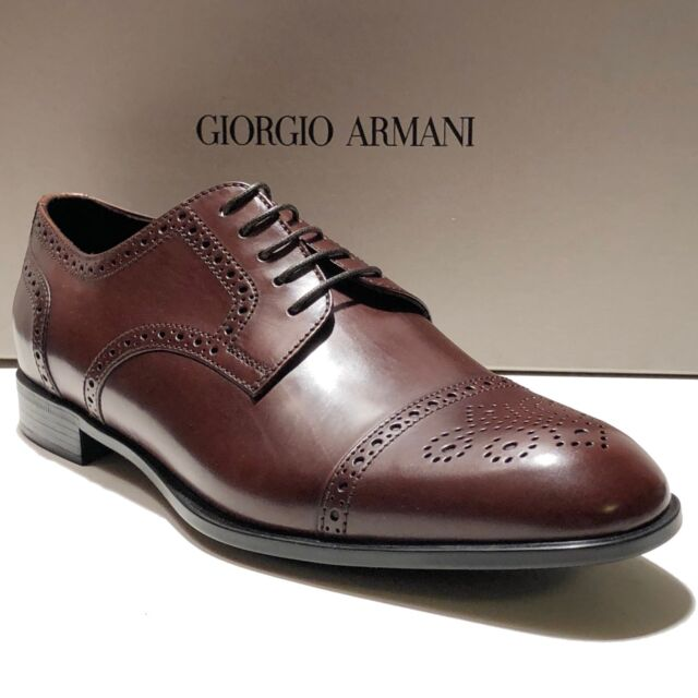 52e59e821176 Giorgio Armani Brown Leather Brogue Dress Derby 10.5 Oxford Men s Formal  Shoes for sale online
