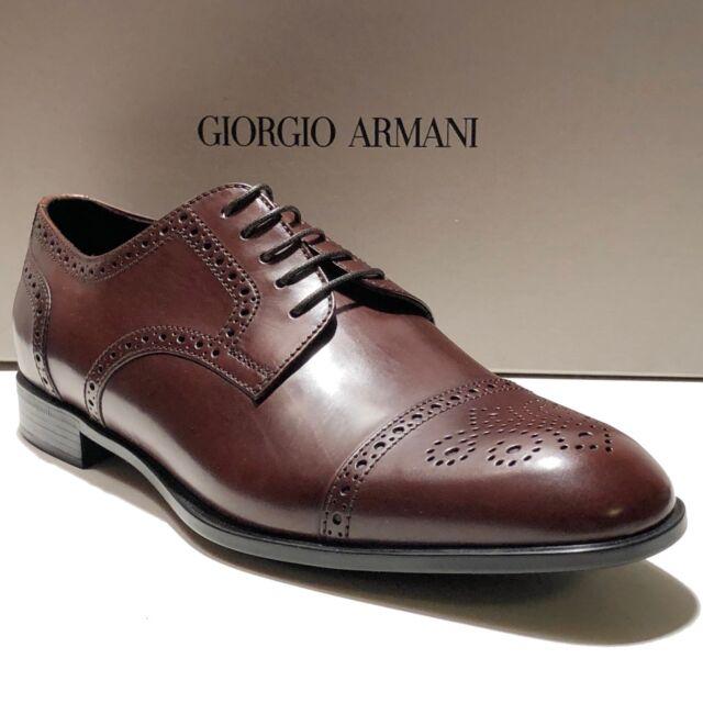 52e59e821176 Giorgio Armani Brown Leather Brogue Dress Derby 10.5 Oxford Men s Formal  Shoes for sale online