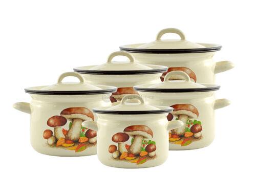 8 Pcs Enamel Cookware Set Casserole Pots Lid Stockpot Mushrooms Stew Pan Brew