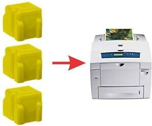 3x-NON-OEM-8560-8560DN-DX-8560MFP-YELLOW-XEROX-PHASER-SOLID-INK-STICK-108R00725