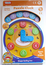 CHILD'S PUZZLE CLOCK TIME TEACHERS FOR 18 MONTHS +