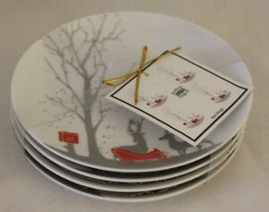 222-Fifth-Christmas-Red-Sleigh-Fine-China-Porcelain-Appetizer-Plates-Set-of-Four