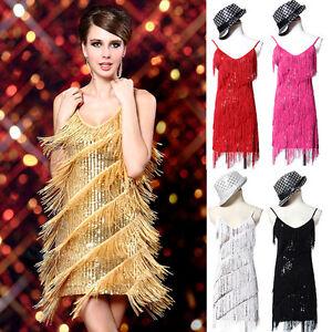 ANOS-20-Vestido-Flapper-Ropa-Clubwear-Gatsby-lentejuelas-borla-Baile-De-Sexy