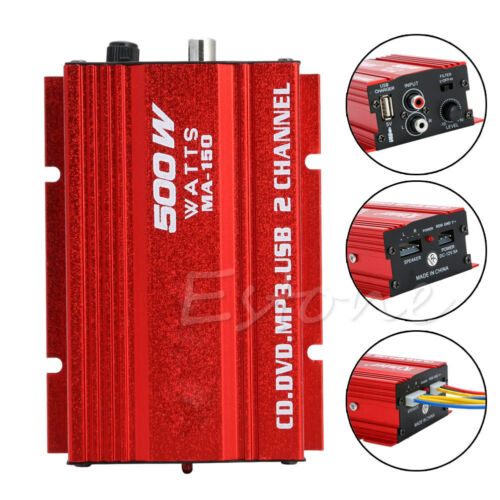 New Mini Hi-Fi 500W 2 Channel Stereo Audio Amplifier for Car Motorcycle