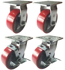 4 Heavy Duty Caster Set 4 5 6 Polyurethane On Cast Iron Wheels No Mark Red