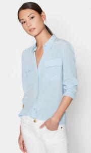 214-Slim-Signature-100-Silk-Blouse-Women-Shirt-Sky-Blue-Sz-XS-S-M