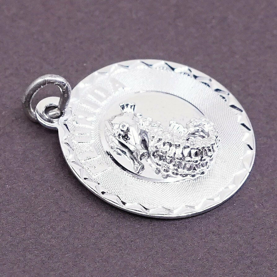 stamped crea ster Vintage Sterling silver handmade charm 925 silver pendant engraved florida and seahorse 320074