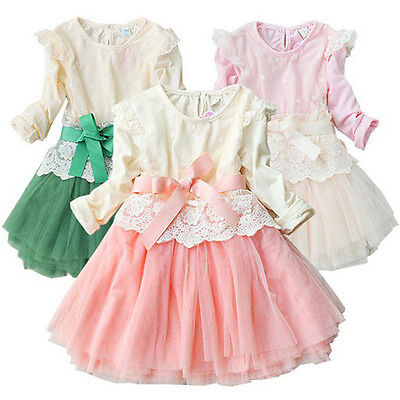 Cotton Flower Long Sleeve Tulle Bowknot Girls Kids Party Tutu Skirts Dress 2-7Y
