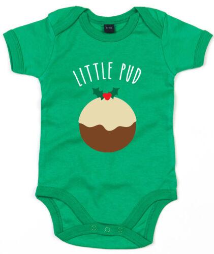 Little Pud Baby Grow Christmas Pudding Babygrow Cute Xmas Newborn Gift Mum L136