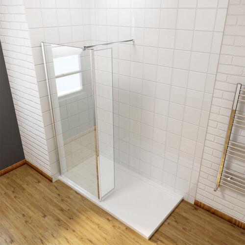 Walk In Wet Room Shower Enclosure Screen Return Glass Panel W// Stone Tray+Waste