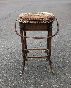Antique-Authentic-Tagged-Heywood-Victorian-Wicker-Sewing-Basket-Floor-Standing
