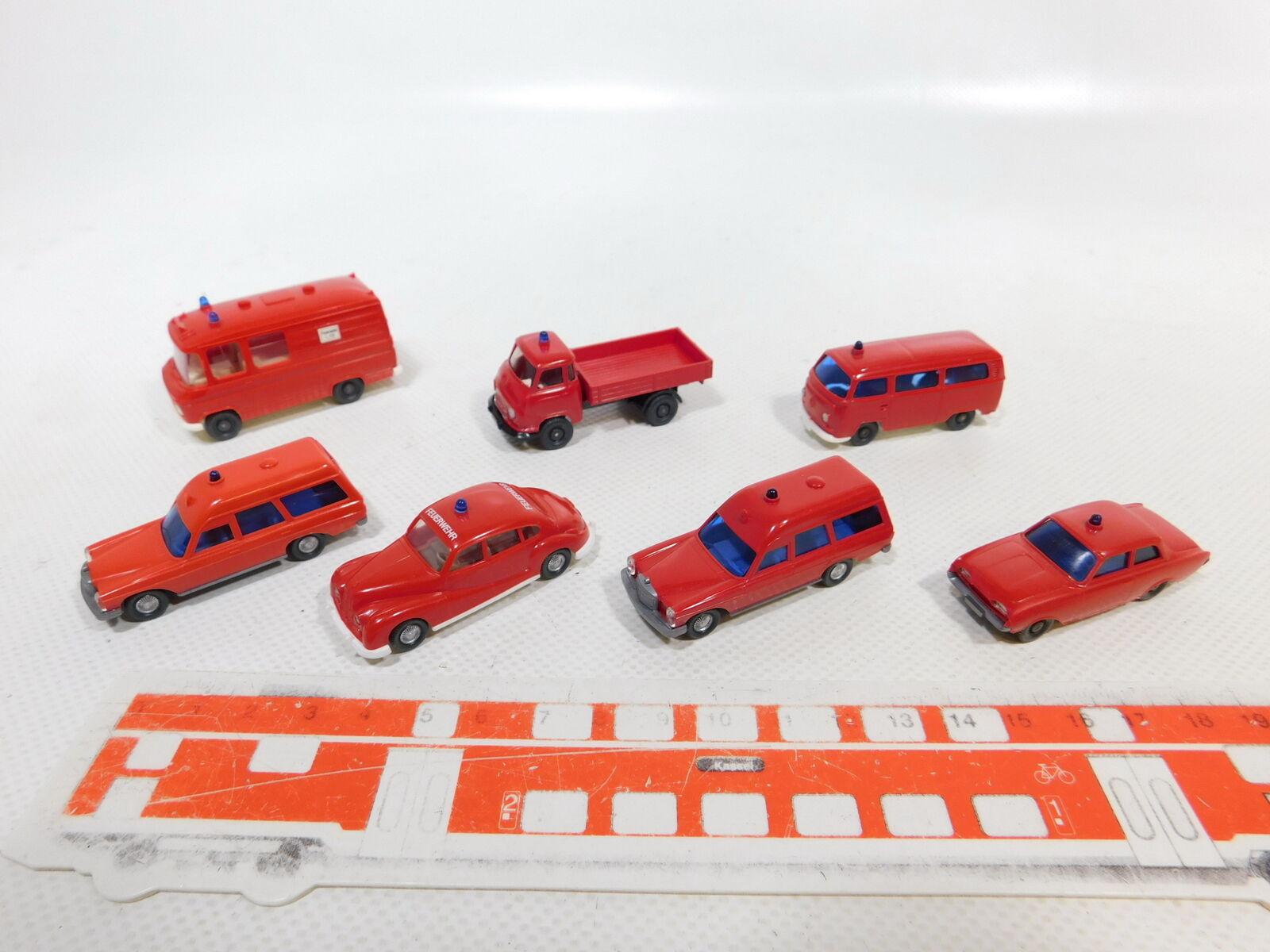 Ca495-0, 5x Wiking 1 87 h0 bomberos  bmw 501 + VW t2 + MB 200 etc, muy bien