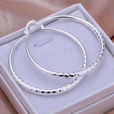 925 Silver Fashion Twinkle Big Round Hoop Dangle Earrings Gift