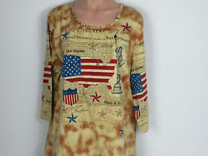 3-4-sleeved-light-Americana-shirt-size-XL-American-Sweethearts-brand-4th-of-July