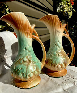 1940s -2 McCoy Art Pottery Ewer Pitcher Vase-Brown/Celadon Green-Grapes & Leaves