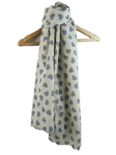 HEART PRINT SCARF  Hearts Ladies Soft Gift Scarves Fashion Latest UK Seller