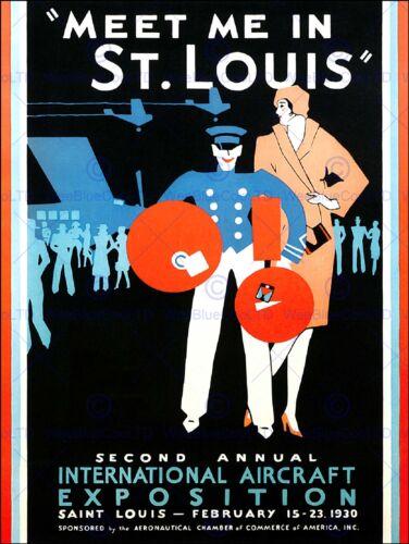 EXHIBITION AIRSHOW ST LOUIS AVIATION USA VINTAGE RETRO ADVERTISING POSTER 1665PY