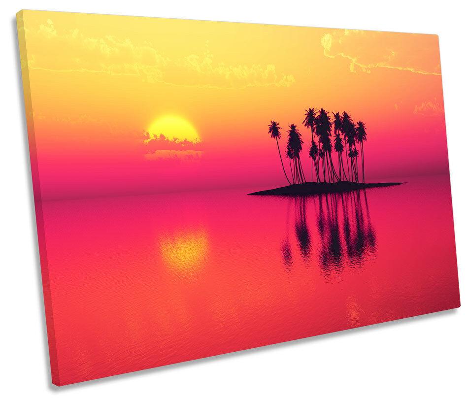 Isla desierta Sunset paisaje LONA LONA LONA parojo arte Foto impresión única 480ef8