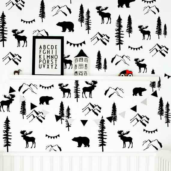 Woodland Wand Decals, Mountain Decal, Bear Decal, Forest Decal, Pine Tree ga188