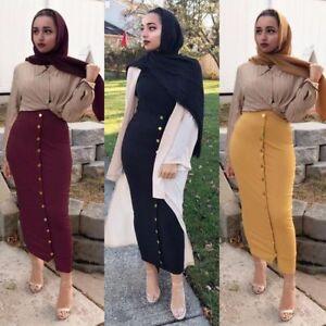Womens High Waist Button Bodycon Long Pencil Maxi Skirt Bandage Casual Dresses