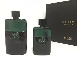 GUCCI GUILTY BLACK POUR HOMME MEN GIFT SET SPRAY 3.0 oz + 1.6 oz NEW ... 53536d2ac48c