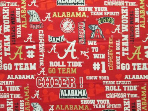 Universidad de Alabama Crimson Tide Brillo palabras Bama Tela De Algodón FQ