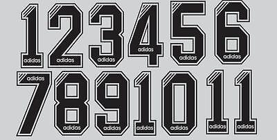 ADIDAS années 1990 numéro noir floqué pour le football shirt Nameset | eBay