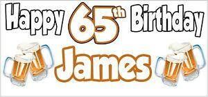 Beer-65th-Birthday-Banner-x-2-Party-Decorations-Mens-Husband-Dad-Grandad-Son