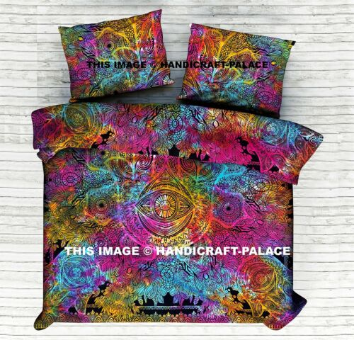 Tie Dye Hamsa Fatima Mandala Bed Sheet Indian Bedding Bed Cover Set Queen Size