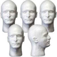 Mn-409 5 Pcs Male Styrofoam Foam Mannequin Head