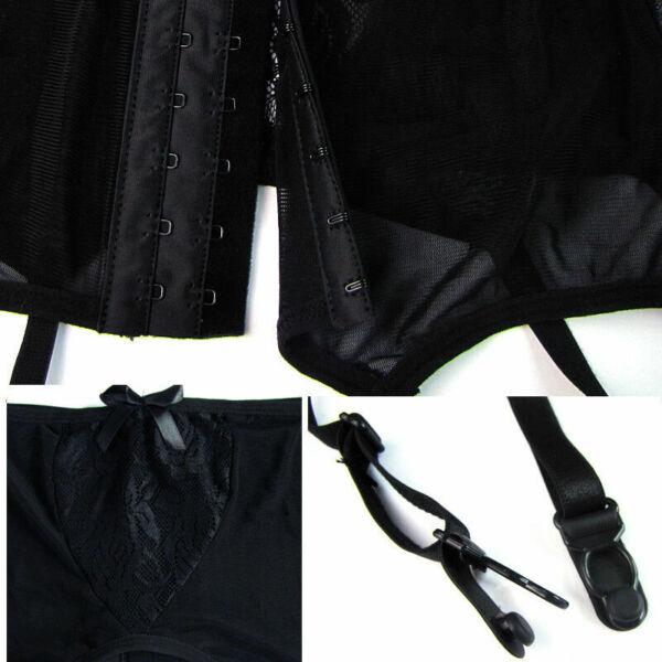 Sexy Damen Spitze Thigh-Highs Strumpfgürtel Lingerie Hosenträger G-String Set