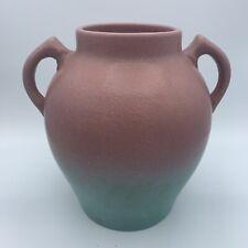 Vintage Pfaltzgraff Art Pottery Two Tone Pink Green Handled Vase