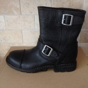 2fb191d57e8 Details about UGG ROCKVILLE II BLACK WATERPROOF LEATHER SHEEPSKIN MOTO  BOOTS SIZE 8 MENS
