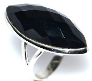 Plata-Esterlina-925-Anillos-Gran-Corte-de-faceta-de-onice-negro-tallas-de-anillo-de-5-L-12-y